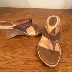Born heeled wedge sandals in size 7